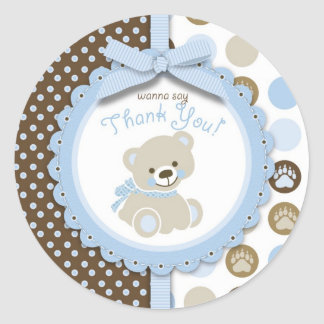 Boy Teddy Bear Thank You Round Sticker