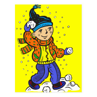 Boy Throwing Snowballs Postcard