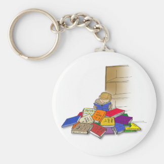 Boy toddler surrounded by books. basic round button keychain