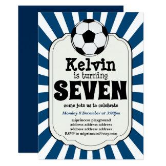 boy turning SEVEN Soccer Ball  Invitation