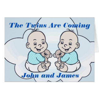 Boy Twins Are Coming Baby Shower Card