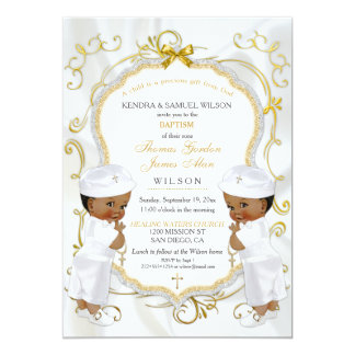 Boy Twins Baptism Christening Gold Cross Ethnic Card