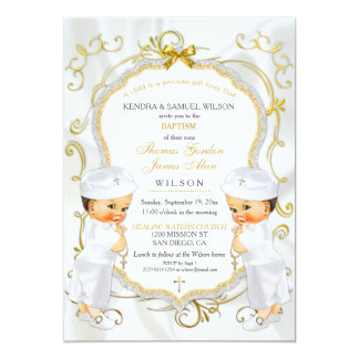 Boy Twins Baptism Christening Gold White Cross Card