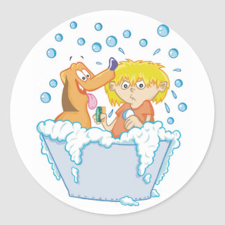 Boy Washing A Dog Stickers