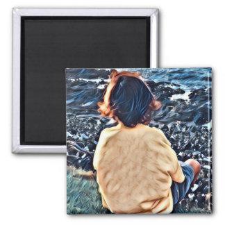 Boy Watching Sunset Magnet