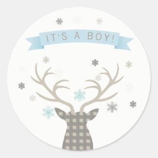 Boy Winter Wonderland Woodland Deer Baby Shower Classic Round Sticker