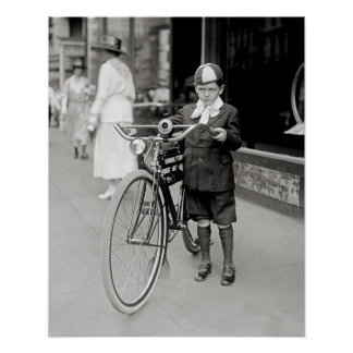 Boy with a Bicycle, 1922. Vintage Photo Poster