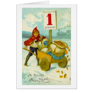 Boy with a cart - Happy New Year card