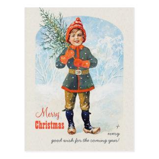 Boy with a Christmas tree CC0935 Jenny Nyström Postcard