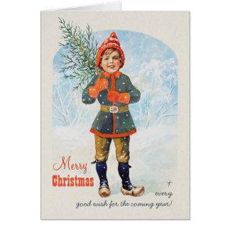 Boy with a Christmas tree Jenny Nyström CC0934 Card