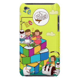 Boy with a girl sitting on a Rubik's cube puzzle Barely There iPod Cases