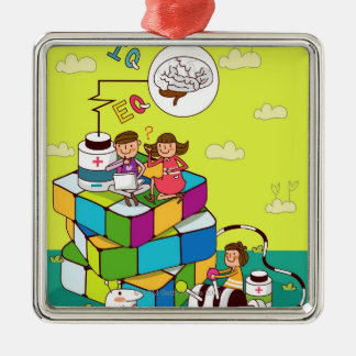 Boy with a girl sitting on a Rubik's cube puzzle Metal Ornament