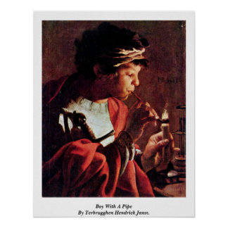 Boy With A Pipe By Terbrugghen Hendrick Jansz. Poster