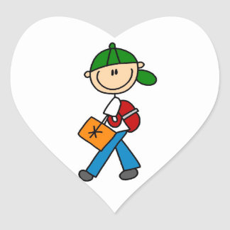 Boy With Backpack Heart Sticker