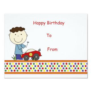 "Boy with car - Children's Gift Card 4.25"" X 5.5"" Invitation Card"
