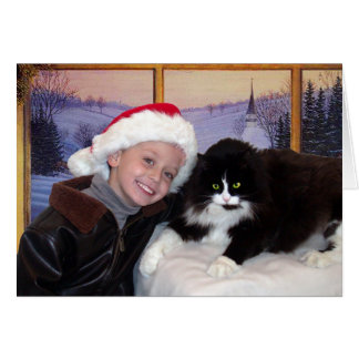 Boy with cat at Christmas Card