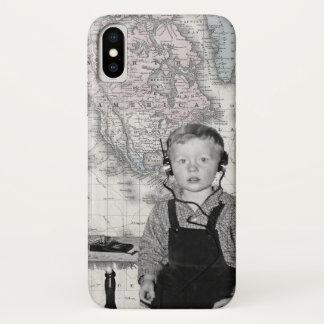 Boy With Crystal Radio Set Map iPhone X Case