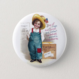 Boy With Fireworks for the Fourth 2 Inch Round Button