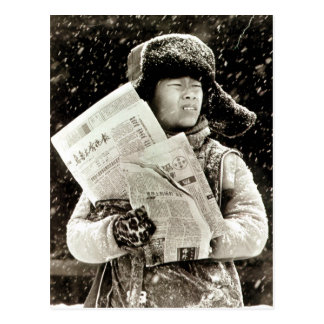 Boy with newspapers postcard