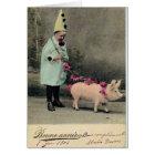 Boy With Pig Fashion Plate Card