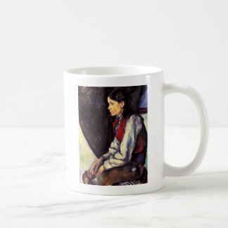 Boy With Red Vest Paul Cezanne painting art Classic White Coffee Mug