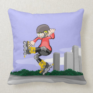 Boy with skates jumping amusingly throw pillow