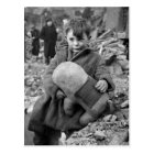 Boy with Stuffed Animal, 1945 Postcard