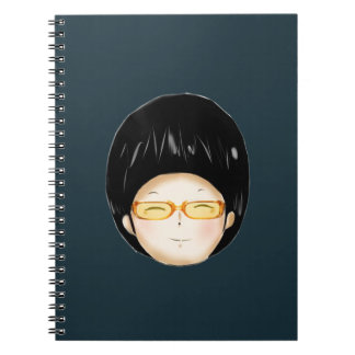 Boy with sunglass note book