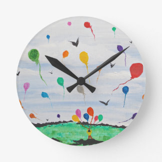 Boy with the balloons round clock