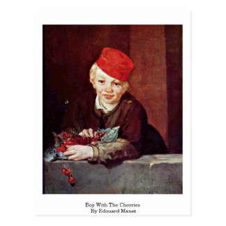 Boy With The Cherries By Edouard Manet Postcard