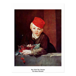 Boy With The Cherries By Manet Edouard Postcard
