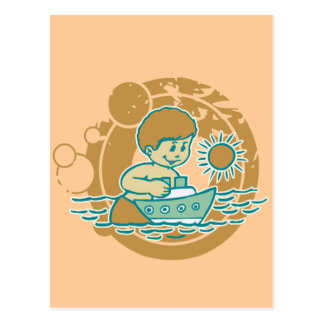 Boy with Tugboat Tshirts and Gifts Post Cards
