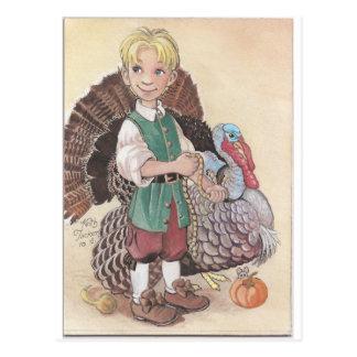 Boy with Turkey Postcard