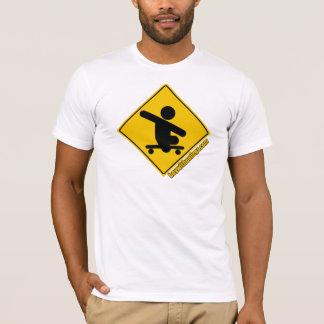 Boy without legs .com skateboard crossing- yellow T-Shirt