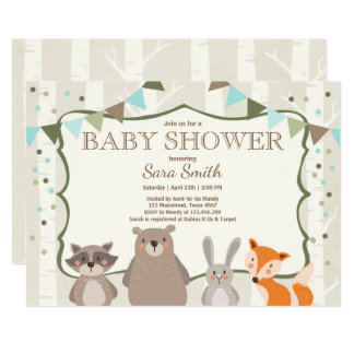 Boy Woodland Baby Shower invite Animals Forest