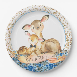 Boy Woodland Deer Baby Shower Paper Plates