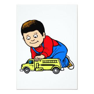 "Boy yellow fire truck 5"" x 7"" invitation card"