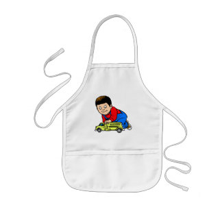 Boy yellow fire truck apron