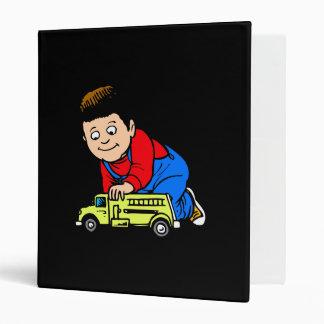 Boy yellow fire truck binders