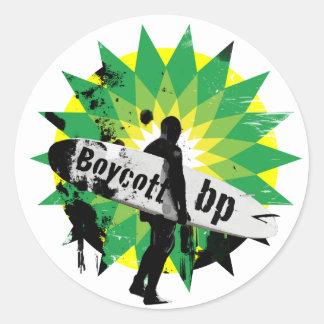 Boycott bp round sticker