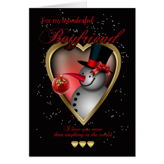 Boyfriend Christmas Card - Snowman In Heart