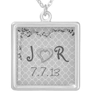 Boyfriend Girlfriend Love Heart Floral Initial Square Pendant Necklace