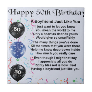 Boyfriend poem 50th birthday tile