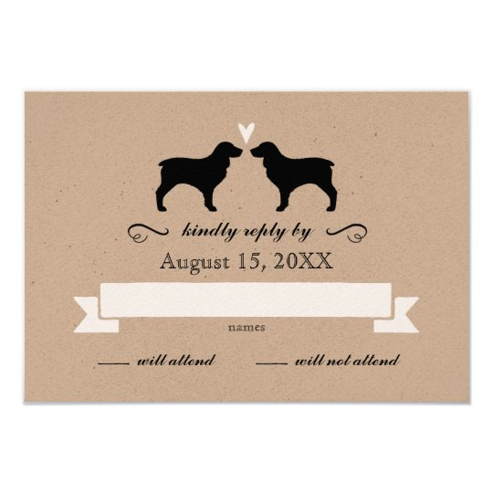 Boykin Spaniel Silhouettes Wedding Reply RSVP Card
