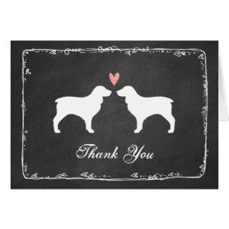 Boykin Spaniel Silhouettes Wedding Thank You Card