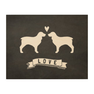 Boykin Spaniels Love - Dog Silhouettes w/ Heart Wood Canvases