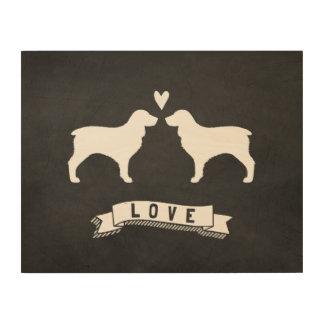 Boykin Spaniels Love - Dog Silhouettes w/ Heart Wood Wall Art