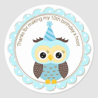 Boys 10th Birthday Blue Owl Thank You Round Sticker