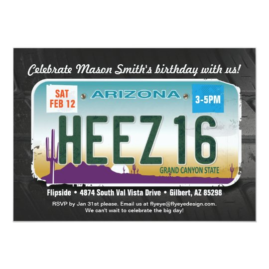 Boy's 16th Birthday Arizona License Invitation