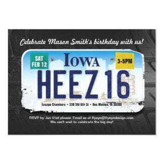 Boy's 16th Birthday Iowa License Invitation